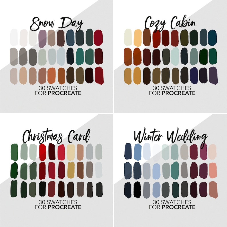 120 Winter Colors for Procreate Holiday Color Palette ...