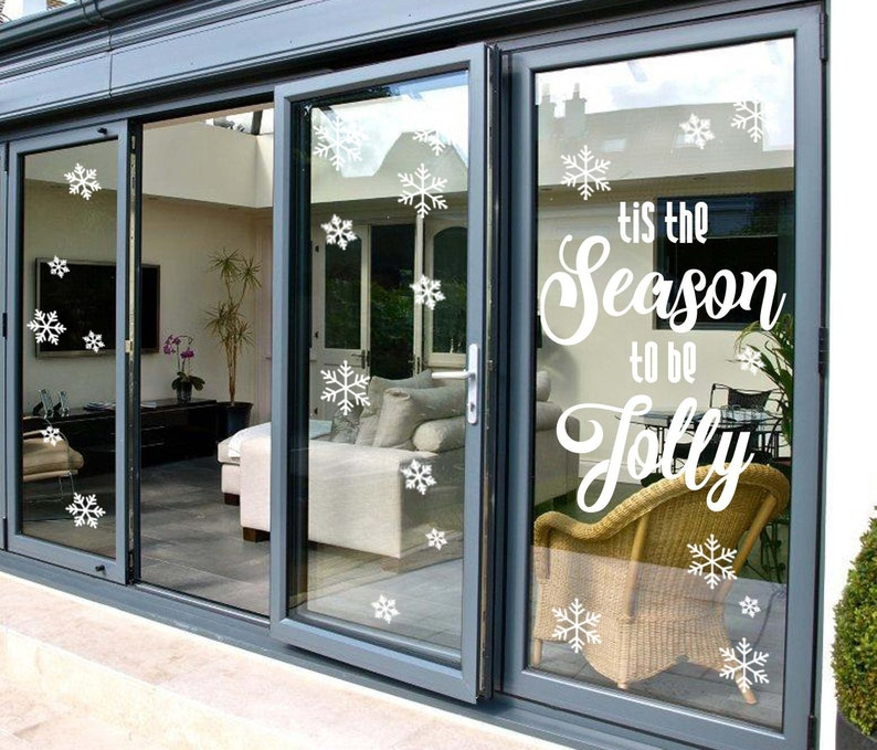 50x Snowflakes+Season to be Jolly Decal Text Stickers Set Indoor+Outdoor Window Doors Walls Shopfronts Office Lounge Entry Avery Vinyl