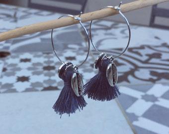 ALIZÉE hoops with blue tassels and charms