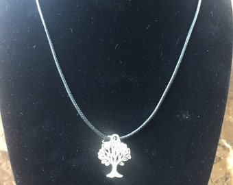 Leather necklace with Tree pendant