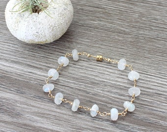 Rainbow Moonstone Rondelle 14k Gold-Filled Bracelet with Magnetic Clasp