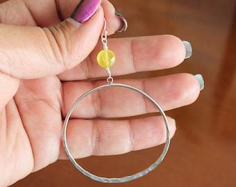 Olive Jade Sterling Silver Hoop Earrings
