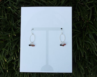 October Birthday Card with Tourmaline Birthstone Sterling Silver Earrings