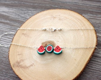 """Polymer Clay Watermelon 15"""" Sterling Silver Necklace"""