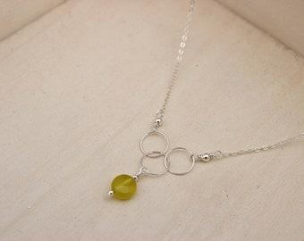 """Olive Jade Hoop 16"""" Sterling Silver Necklace"""