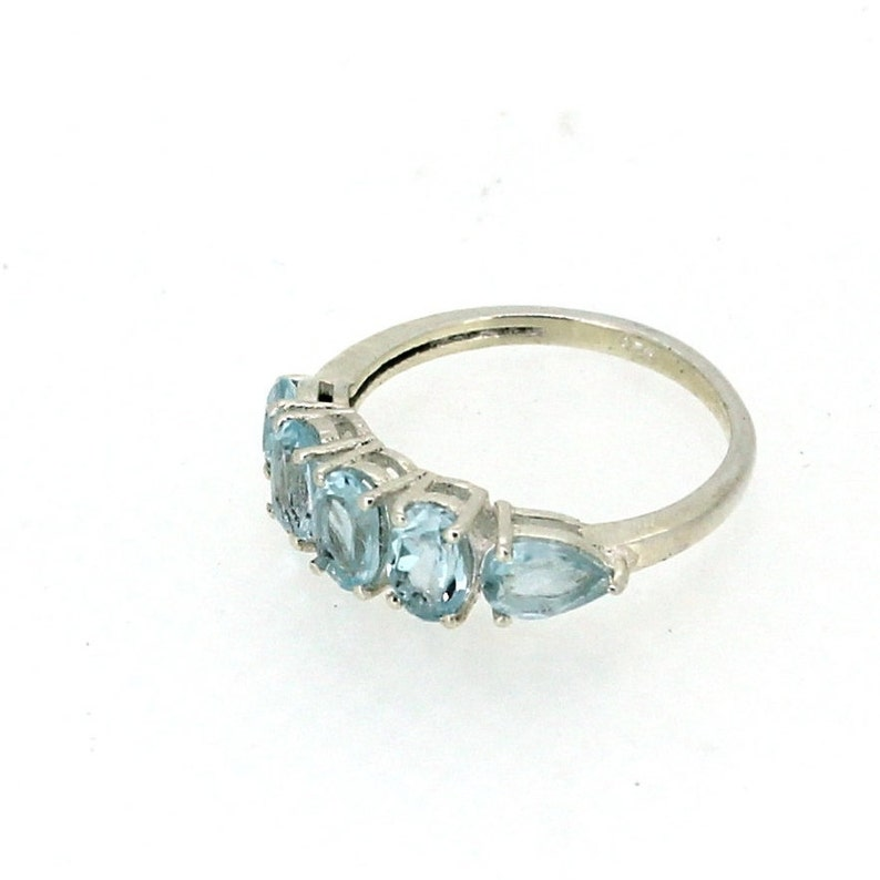 Natural Blue Topaz Faceted Oval And Pear Shape Multi Stone Wedding Party Wear Ring 925 Solid Sterling Silver Handmade Gemstone Ring