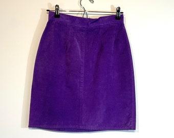 90s Purple Suede Skirt 26W