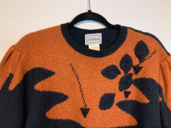 Puff Sleeve Beaded Sweater - image 2