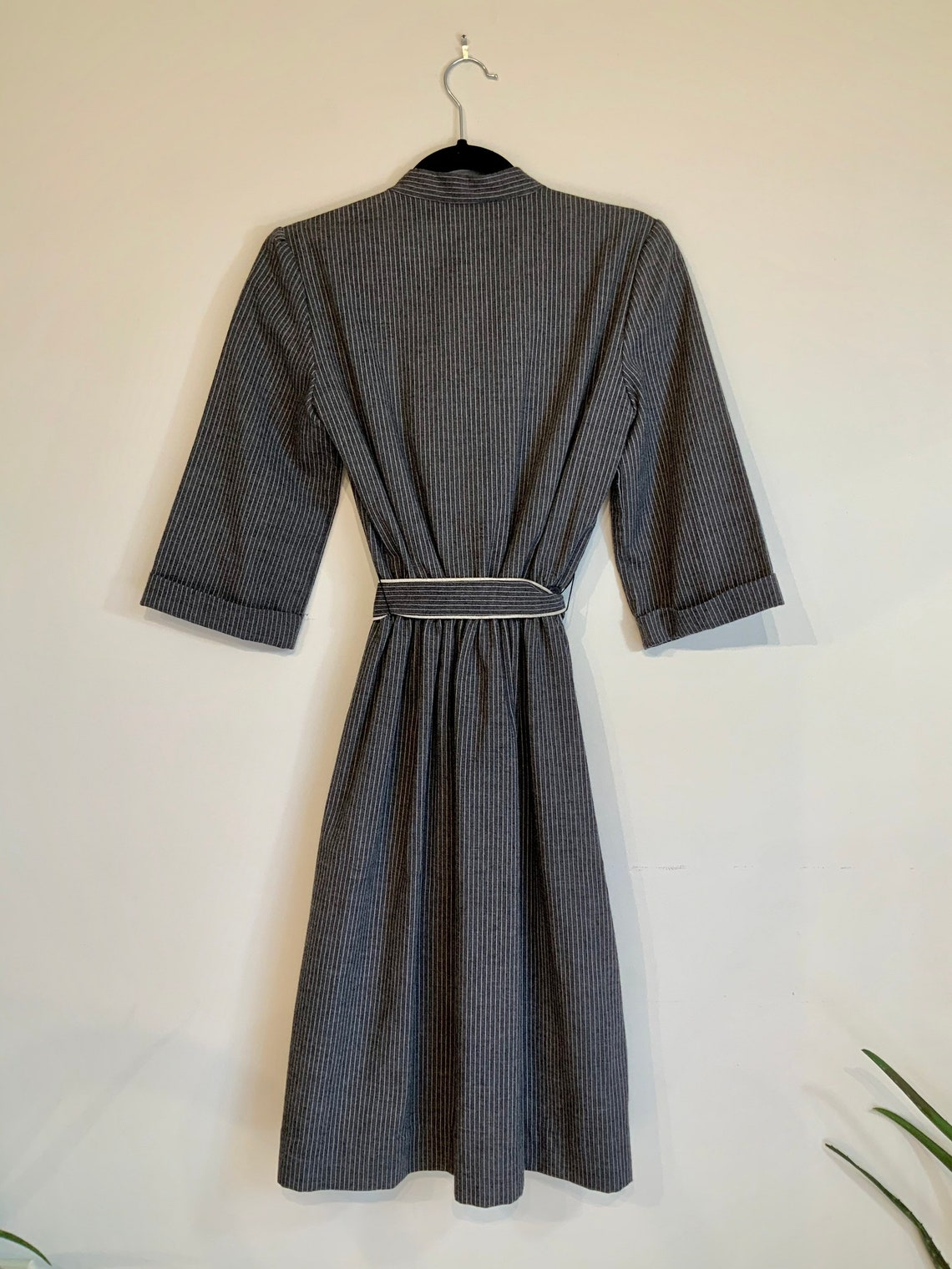 Gray Stripped Dress With Mock Collar