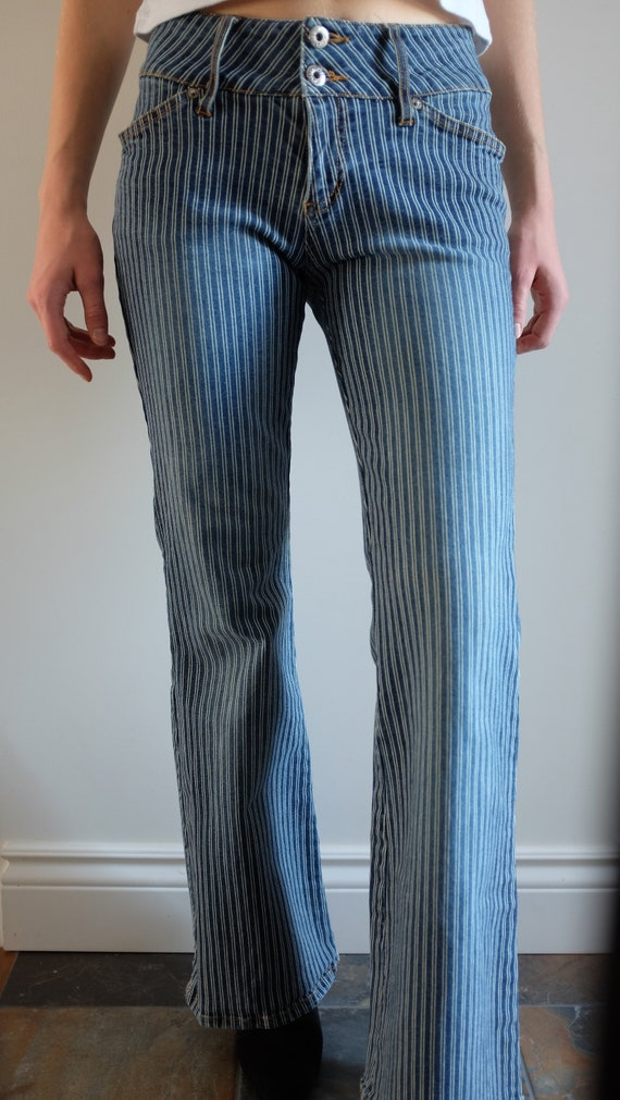 White Pin-striped Flare Pants