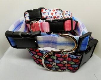 Custom Dog Collar - Adjustable Pet Collar, Sublimation. Girl Dog Collar, Boy Dog Collar, Florals, Geometrics, Plaids, Prints, Textures