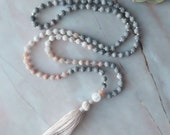 WAITLIST, Mala, Maifanite and Moonstone Mala, Mala Necklace, Meditation Necklace, 108 bead mala, gifts for her, Mala