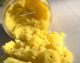 TURMERIC BODY SCRUB with Lemon Brightening Scrub Sugar Scrub Natural Exfoliant Licorice Root, 10 oz