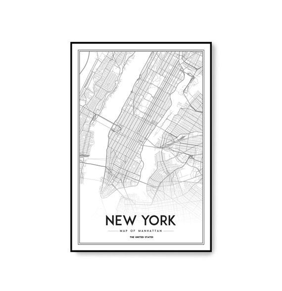 New York Map Print Manhattan Nyc Map Manhattan Map Poster Etsy