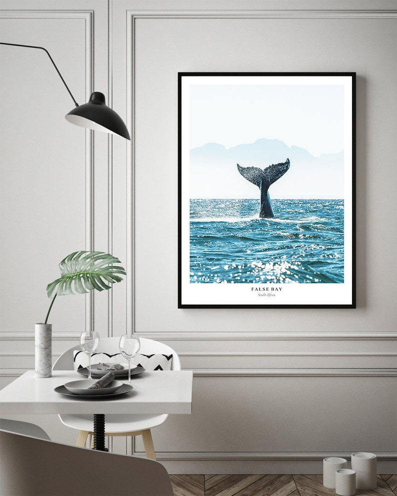 1f534394b5bb Whale Tail Print Ocean Prints False Bay Ocean life Animal | Etsy