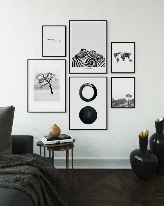 Gallery Art Prints Living Room Decor Black And White Modern Etsy