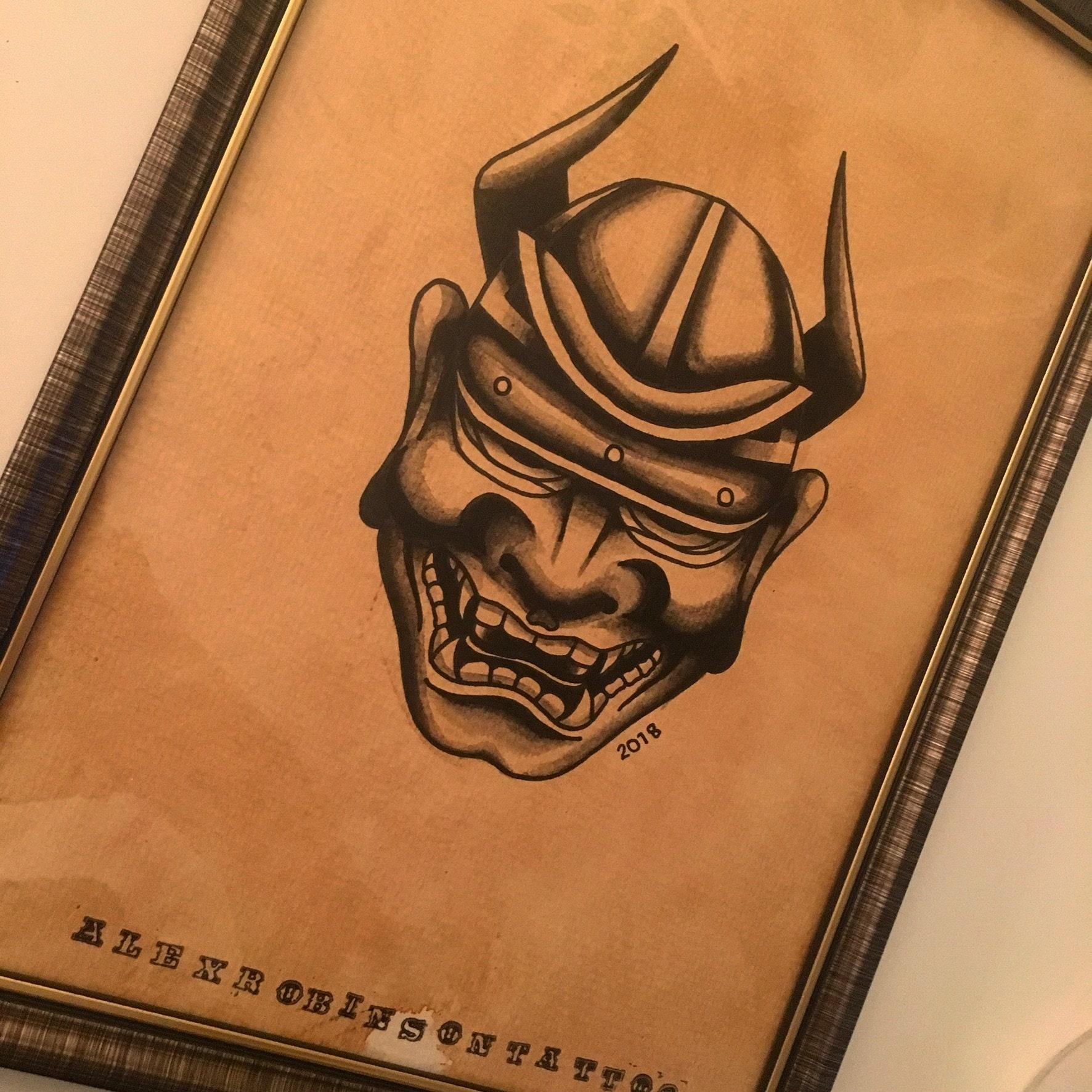 A4 Japanese hannya mask tattoo flash print   Etsy
