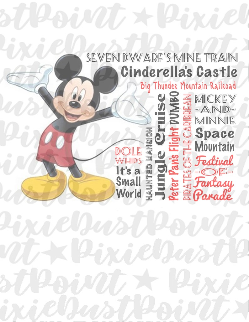 Magic Kingdom INSTANT DIGITAL DOWNLOAD Disney Mickey Iron-On Image for  t-shirts, cruise magnets, scrapbooking