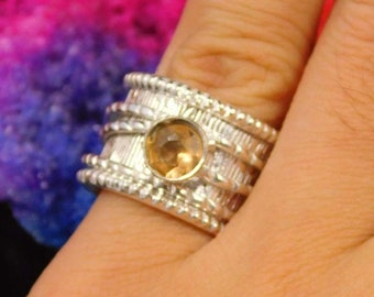 Faceted Citrine Quartz Gemstone Jewellery Handmade Ring Size 6