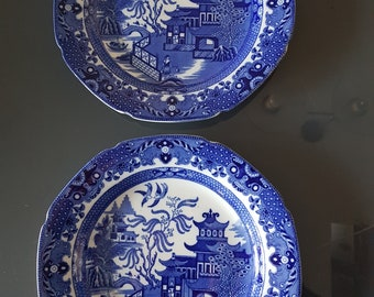 Burleigh Ware 'Willow' pattern plates