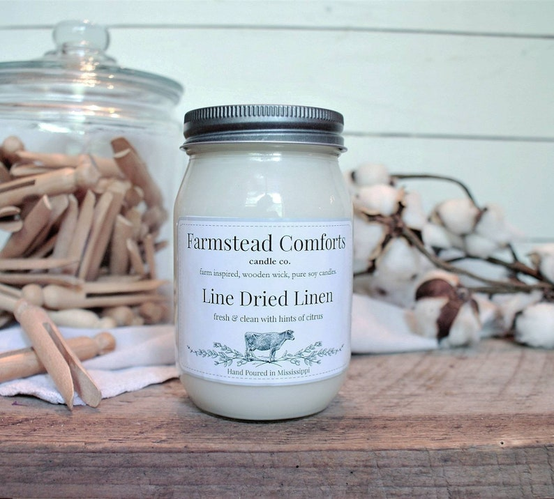 Line Dried Linen clean scent candle large 16 ounce soy with wooden wick