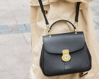 42d827b8148d0 C iel Aria black satchel saffiano leather bag with locker closure