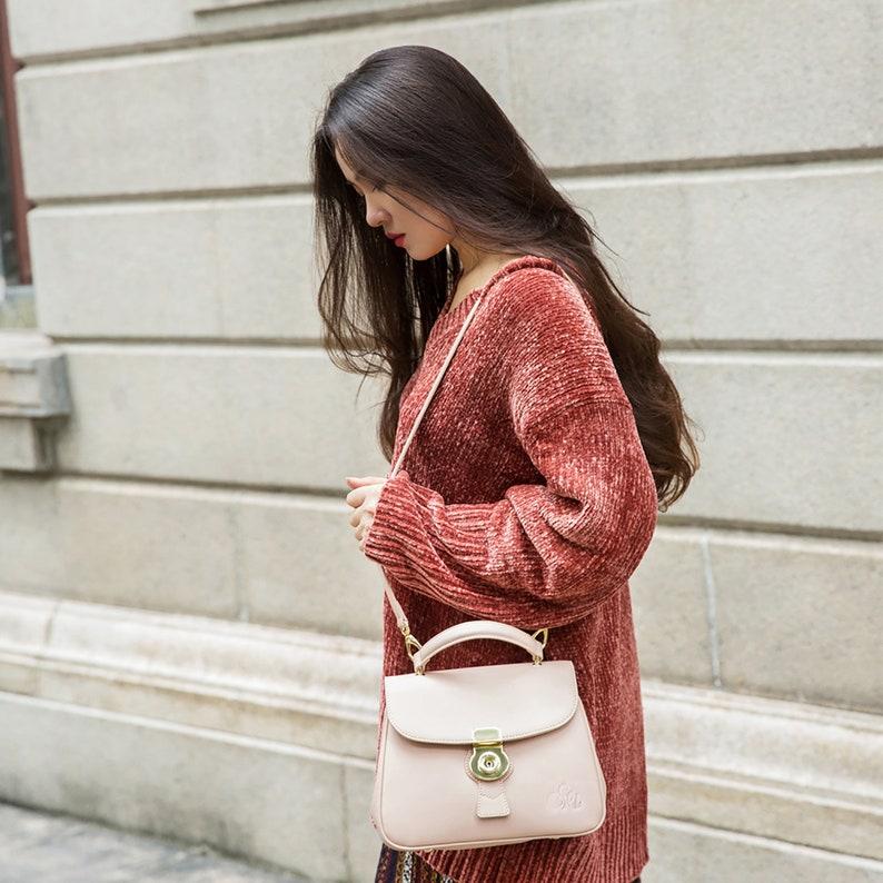 ab1d422daf8b3 C iel Aria pink satchel saffiano leather bag with locker