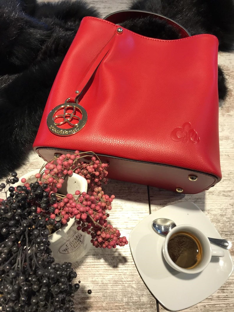 bab99c7314726 C iel Ines red medium leather tote bag