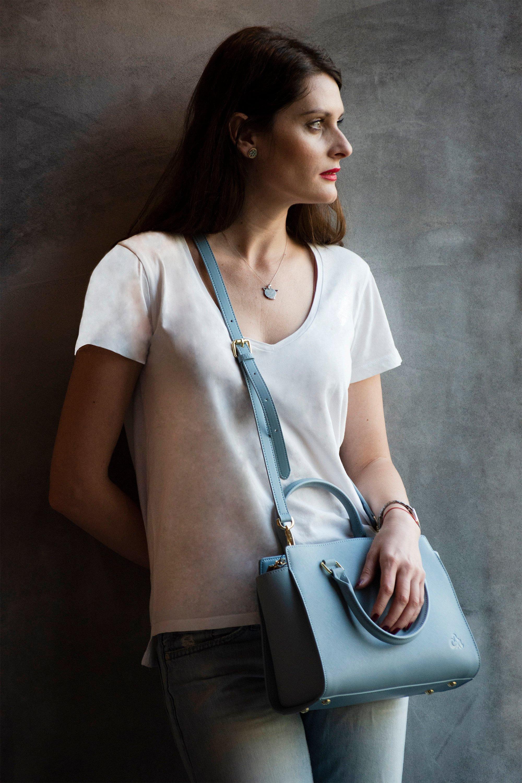 99ecd56e57158 C iel Aniyah blue saffiano leather tote bag