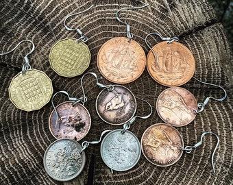 Coin Earrings with Silver Hooks / Vintage Jewellery / Fashion / Boho Jewellery
