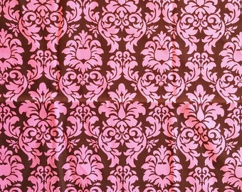 Michael Miller Dandy Damask Pink & Brown Cotton Quilting Craft Fabric 1 Yard