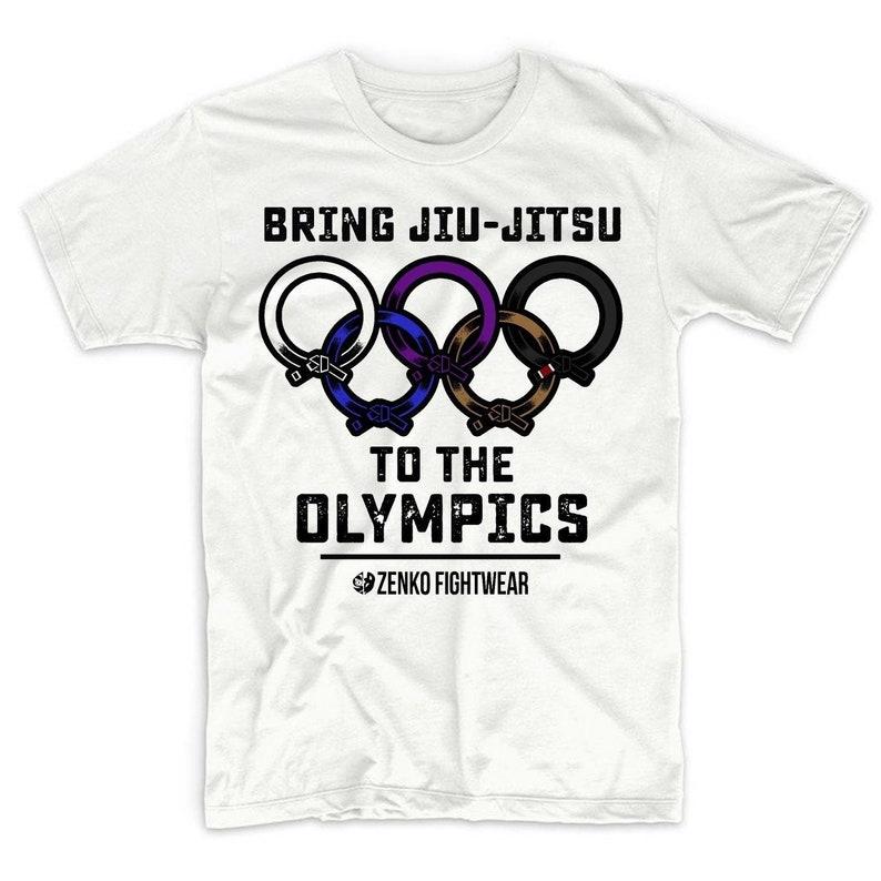 Bring Jiu-Jitsu to the Olympics Tee Ranked Belt Rings Olympic BJJ T-Shirt  Jiu-Jistu Shirt by Zenko Fightwear