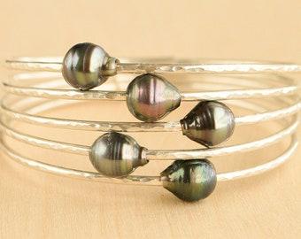Oval Tahitian Pearl Bangle Bracelet, Pearl Jewelry, Tahitian Pearl, Made in Hawaii