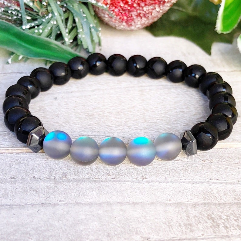 Beaded Bracelet\u2022 Matte Turtle Grain /& Grey Matte Moonstone\u2022 Charm Bracelet.