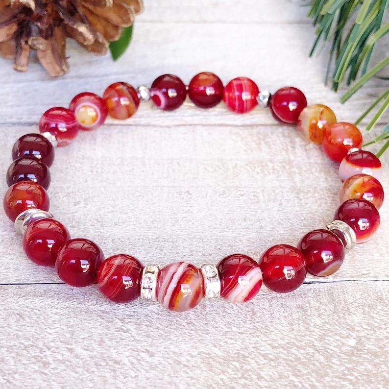 Beaded Bracelet\u2022 Red Stripe Agate Charm Bracelet. Handmade