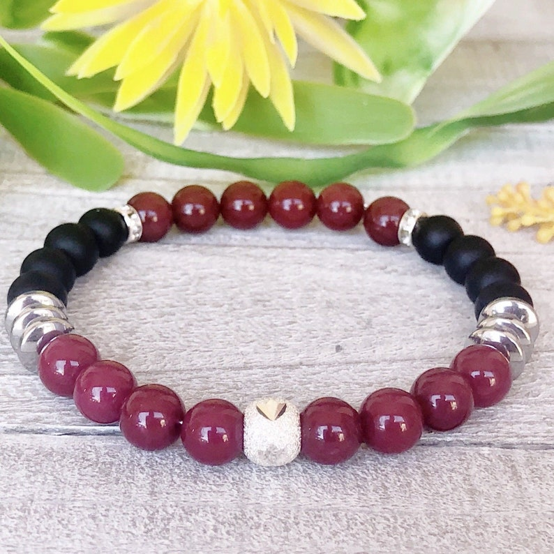 Charm Bracelet Beaded Bracelet. Ruby Red Jasper /& Black Matte Onyx +Stretch Handmade