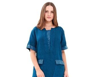 Women's Summer Dress Shift Dress Linen with Pockets A Grade 100% Linen One Size (Blue)
