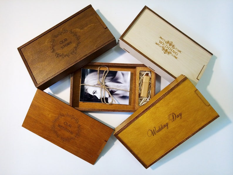 Set Of 5 Wedding Photo Box Wood Wedding Keepsake Box 5th Anniversary Gift Engraved 4x6 Presentation Wooden Photo Box For 5 X7