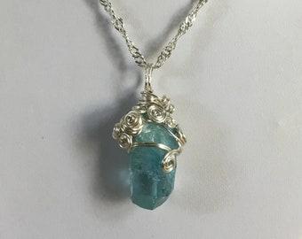 Aqua Aura Quartz Silver Necklace