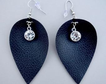 Crystal Charm Faux Leather Petal Earrings