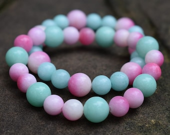 A pair bracelet sky blue amazonite pink juicy peach chalcedony girl women bracelet