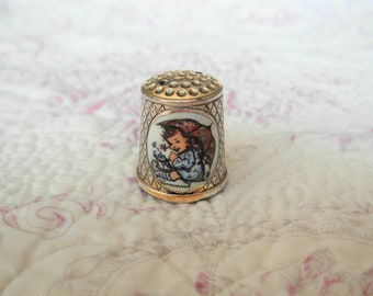 Hummel Silver Thimble -  1983 first edition Silver plated with enaml plaque of Girl and umrella collectors Thimble