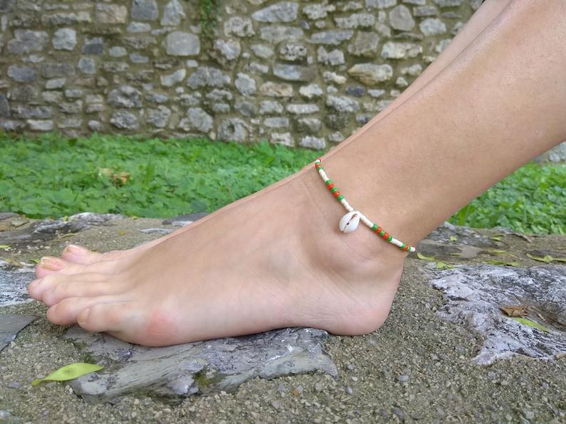 6a7f38507 Waterproof Dainty cowrie Shell anklet bracelet for women girl