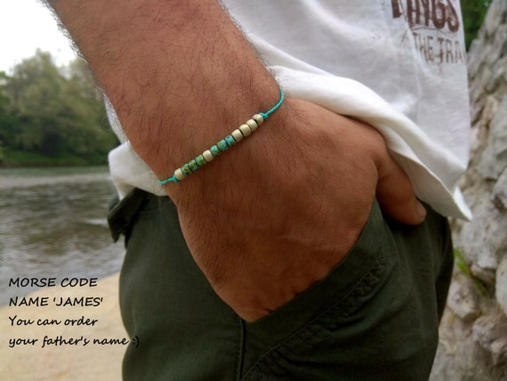 Fathers Day Gift First Time Dad Gift Fathers Name Bracelet Morse Code Jewelry Dad Gift From Daughter Morse Code Bracelet Men