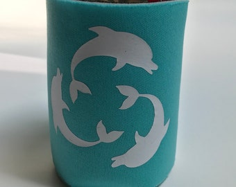 Aqua KOOZIE® with a circle of White Dolphins, dolphin, ocean, drink holder, drink sleeve, huggie, party