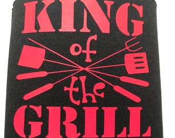 Black KOOZIE® Bright Red Lettering, King of the Grill, Father's Day gift.