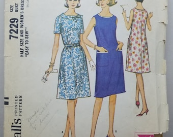 3 Vintage McCalls 7229 Sz 16.5 Bust 37 One Pc Dress Pattern, Simplicity 8126 Back Wrap Skirt Pattern & Simplicity 5092 Dress Sz 18.5 Bust 41