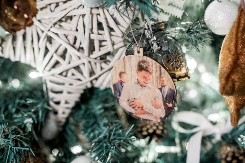 gift ornament FAMILY Tree gift family photo on wood Valentine/'s day gift photo gift for her custom made Your photo on wood