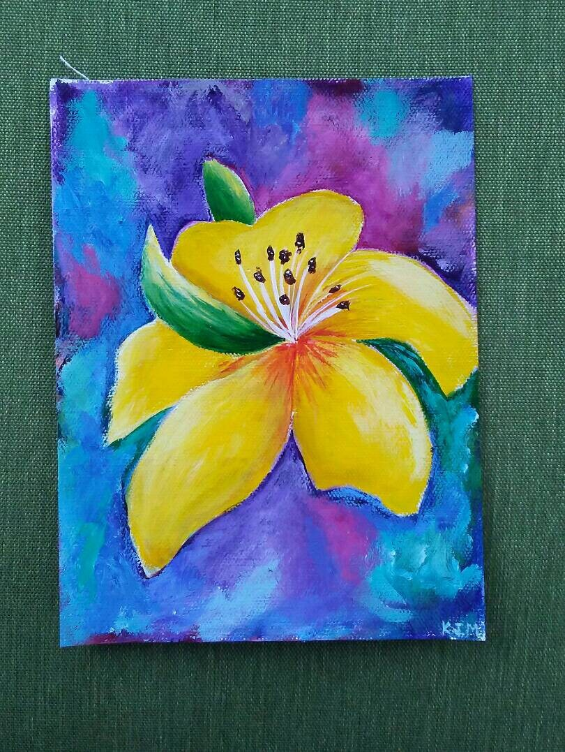 Yellow Lily Flower 6x8 Handpainted Acrylic Painting