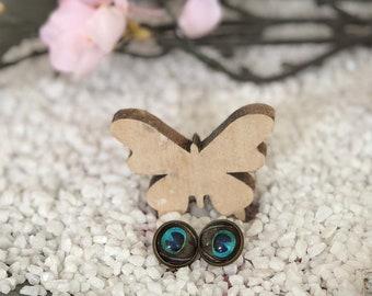 Cabochon Earrings Peacock Eye Bronze 12 mm